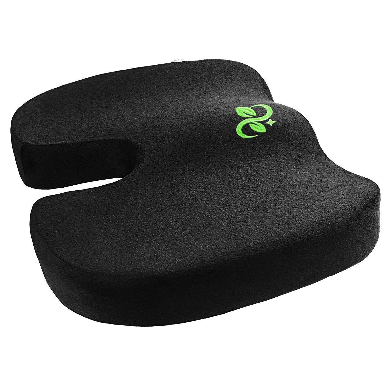 Seat Cushion Premium Comfort Coccyx Seat Cushion Pure Memory Foam Luxury Seat Cushion with Anti-Slip Bottom Orthopedic Design to Relieve Back, Sciatica, Coccyx and Tailbone Pain (Black- seat Cushion)