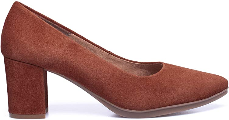 miMaO - Zapatos Zapatos de tacón de ante fabricados en España. Cómodos. Zapatos clásicos y elegantes. Zapatos de tacón bajo cómodos para otoño e invierno., Negro (marrón), 42 EU: Amazon.es: Zapatos y
