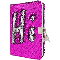 VIPbuy Magic Reversible Sequin Notebook Diary Lined Travel Journal with Lock and Key for Kids Girls, Size A5, 78 Sheets (Rose red to Silver)