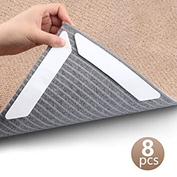 Rug Grippers, New 8 pcs Anti Curling Rug Gripper, Keeps Your Rug in Place /& Makes Corners Flat, Super Large Anti Curling Rug Corner Gripper,Premium Carpet Gripper with Renewable Gripper Tape /(Rug Grippers 8pcs/) Arespark