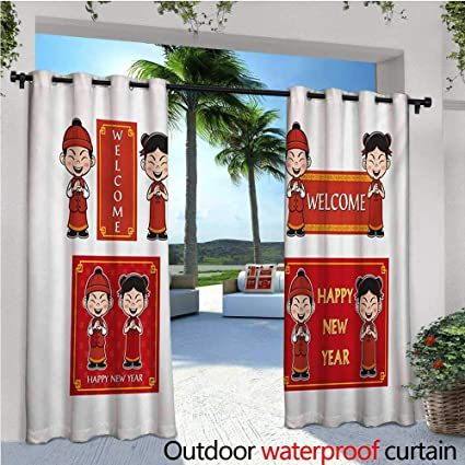 homehot chinese new year outdoor blackout curtains happy wishes and greeting with little boys girls joyful