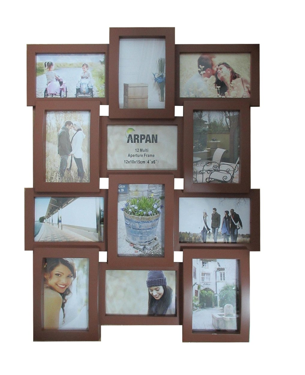 Arpan Multi Apperture Picture/Photo frame, Holds 12 x 6''X4'' Photos - Ideal Gift (BLACK) CL-1014-BLACK