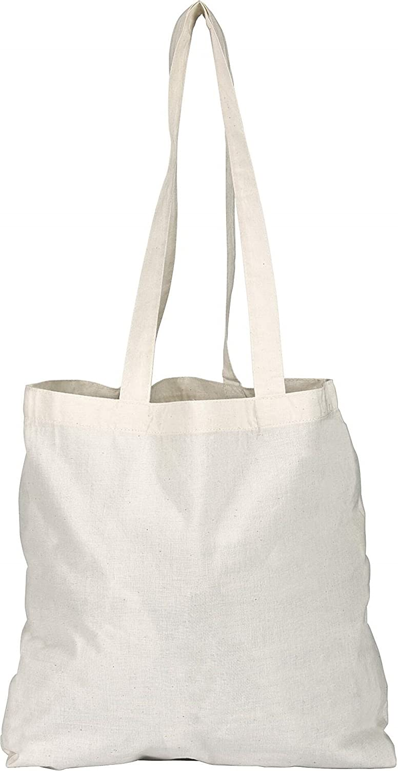 50 Natural Cotton Tote Bags 145gsm Euro Brand - Plain Ideal Print ...