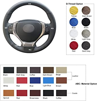MEWANT Black Genuine Leather Steering Wheel Cover for Toyota Camry 2012-2014