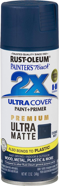 Rust-Oleum 331183 Painter's Touch 2X Cover, 12 Oz, Ultra Matte Evening Navy