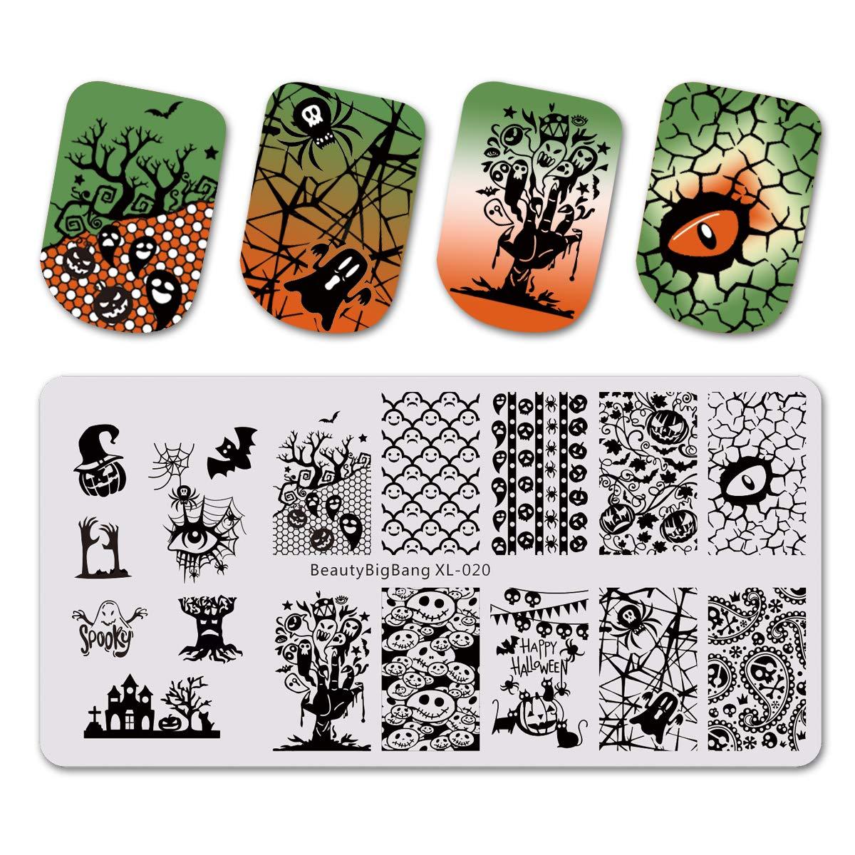 Beautybigbang Nagel Stamping Schablone Nail Art Plate Maniküre Halloween Kürbis Skelett XL-020