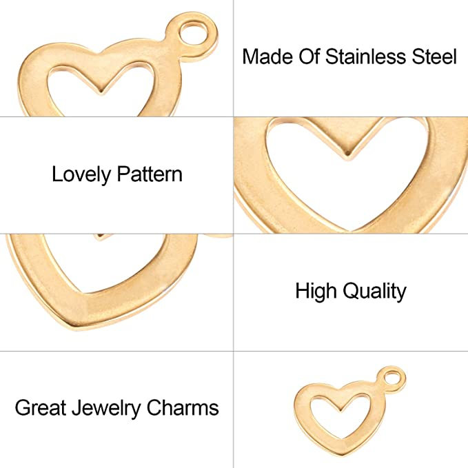 10pcs 17.25x25.4mm Stainless Steel Heart Charm Pendants,Stainless Steel Heart Disc Blank,Stainless Steel DIY Supplies,Jewelry Findings,ST419