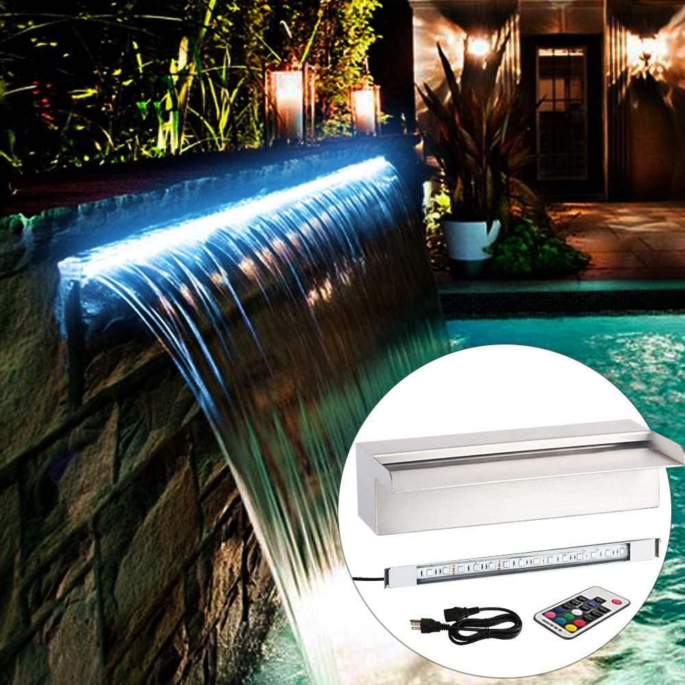 Amazon Com Yuda 24 Led Pool Fountain With 7 Color Changing Stainless Steel Waterfall Spillway For Sheer Descent Garden Ourdoor Garden Outdoor