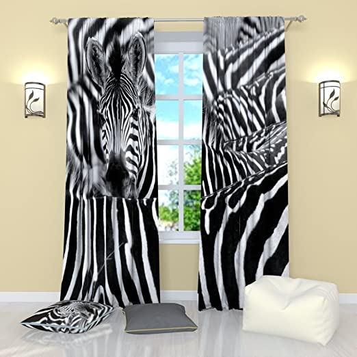 Amazon Com Factory4me Zebra Stripe Curtains Window Curtain Set Of 2 W84 X L84 Inches Drapes For Living Room Bedroom Kitchen Home Kitchen