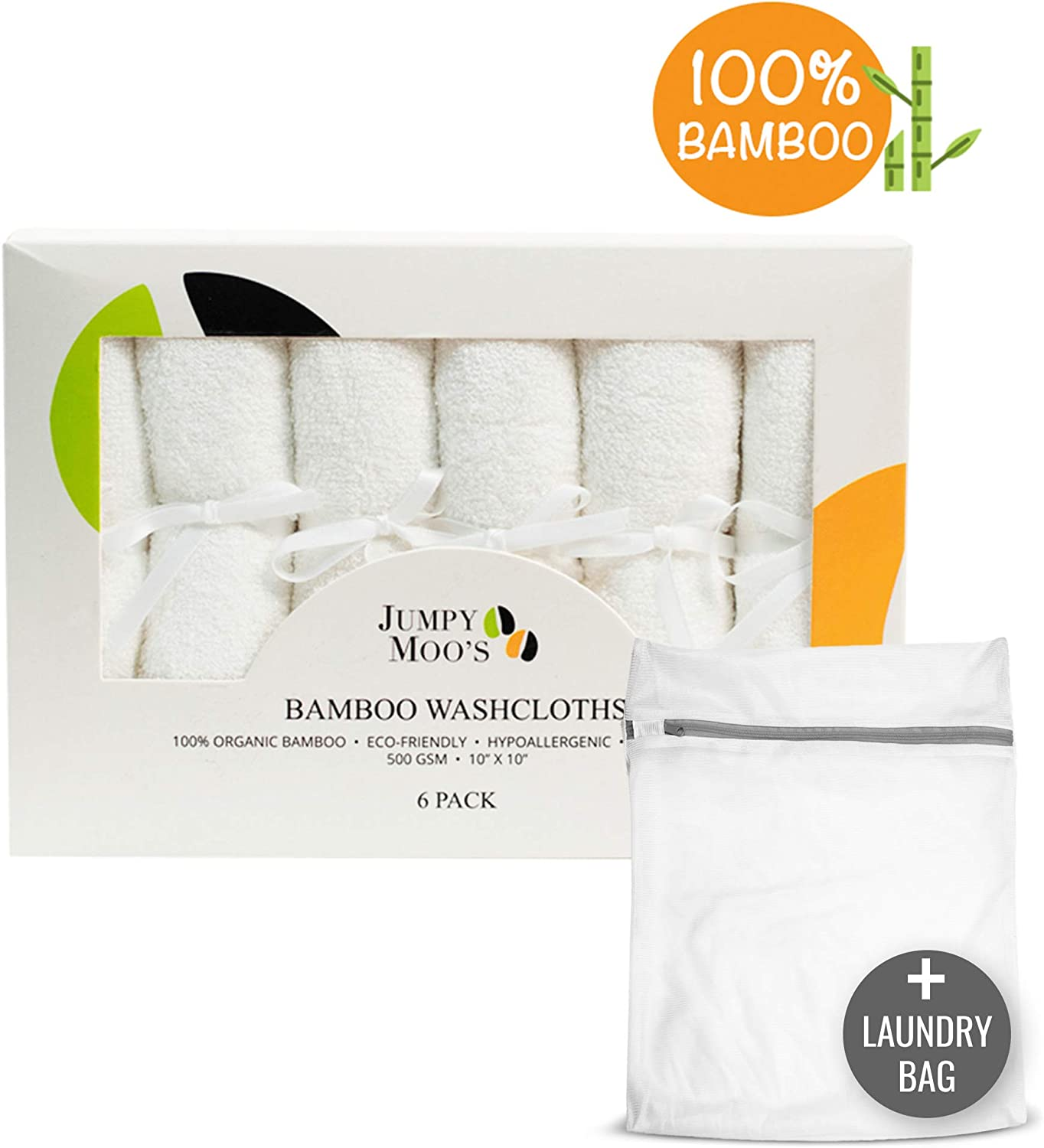 Highly Absorbent /& Antibacterial 500 GSM 100/% Bamboo Organic Baby Washcloth /& Laundry Bag Soft /& Delicate Fabric 6 Pack - White Hypoallergenic 10 x 10 in