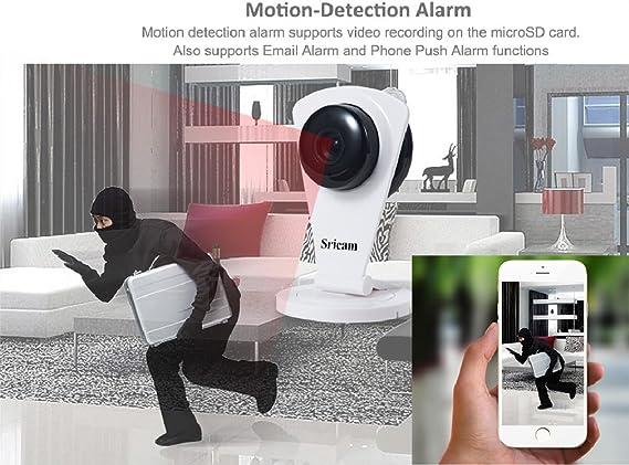 Tsing Cámara de Vigilancia Inalámbrica Wifi P2P (Visión Nocturna, Micrófono, Verla Simultáneamente por 10 Terminales) (Blanco)