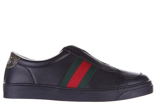 58cbab179 Gucci Zapatos Zapatillas de Deporte niño en Piel Nuevo Negro  Amazon.es   Zapatos y complementos