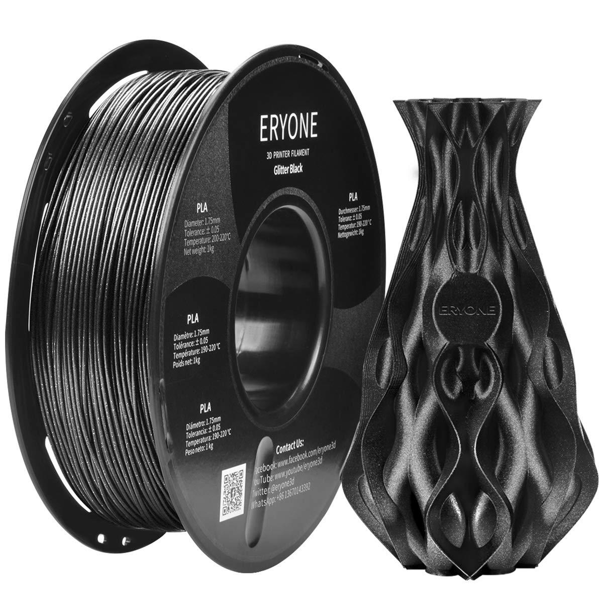 Filament PLA 1.75 mm Sparkly Noir, Glitter Noir, ERYONE PLA Filament pour Imprimante 3D et Stylo 3D, 1KG, 1 Bobine