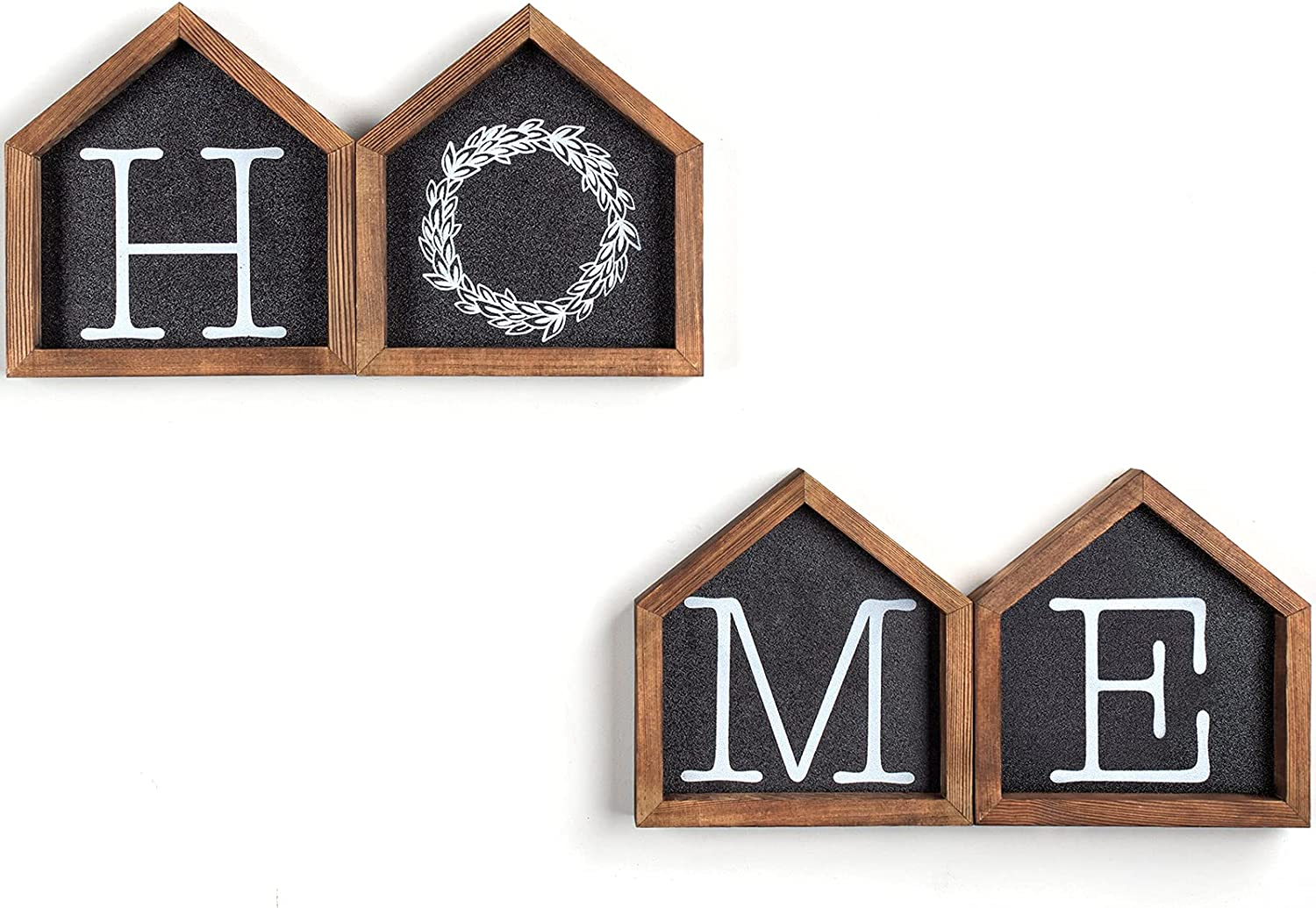 Rustic Wooden Home Signs Wall Decor Set of 4, Wall Hanging House Shaped Farmhouse Letter Prints for Home Decor, Perfect Country Decor for Living Room, Bedroom,Gallery