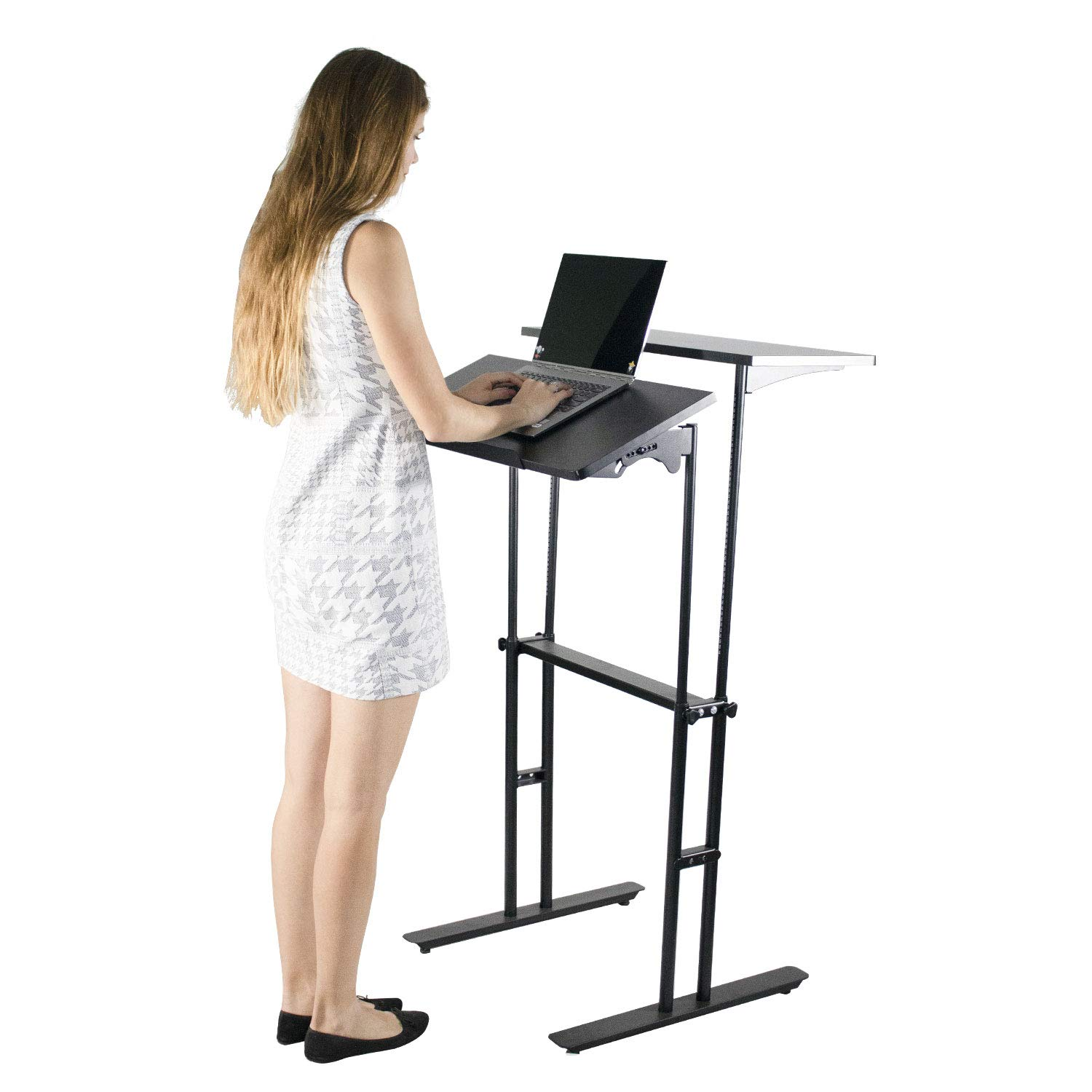 Heyesk Stand Up Desk Height Adjustable Home Office Desk with Standing (Black) by heyesk (Image #1)