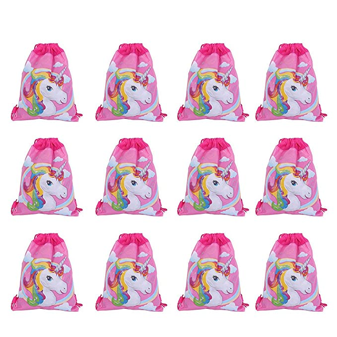 12 Pack Cute Unicorn Print Drawstring Bag For Kids Party Favors Supplies Backpack Gym
