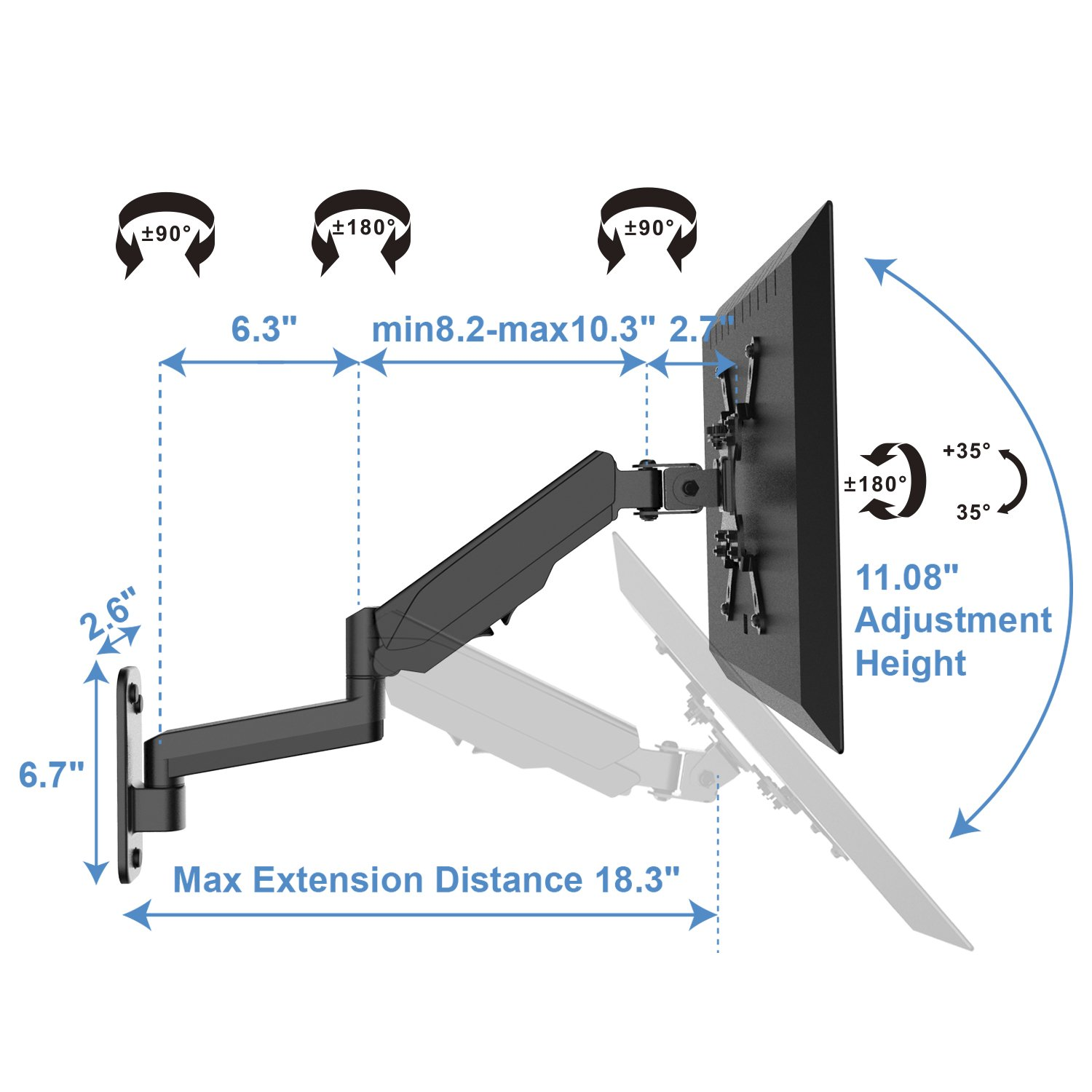 Monitor Wall Mount Bracket Articulating Adjustable Gas Spring Single Arm Stand with VESA Extension Kit for 17 to 32 Inch LCD Computer Screens 200x200 200x100 VESA 75x75,100x100