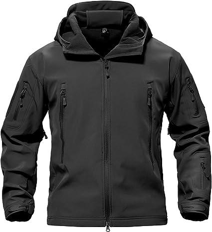 TACVASEN Veste coupe-vent imperm/éable et chaude en polaire respirante avec capuche amovible