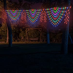 Welltop Net Lights Outdoor Mesh Lights, 9.8 x 1.64ft 468 LED Peacock Net Lights with 8 Modes White Cable Indoor Outdoor String Decorative Lights for Xmas Trees Bushes Wedding Garden Patio, Multicolor