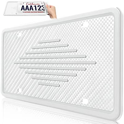 Uxinuo License Plate Frame Universal American Auto License Plate Holder, Rust-Proof, Rattle-Proof, Weather-Proof with 3 Drainage Holes, White, 1 Pack: Automotive