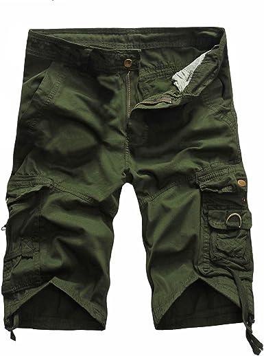 Hommes Pantalon Cargo Militaire Combat Pantalons de travail Pantalons Outdoor Multipocket Slacks pas de ceinture