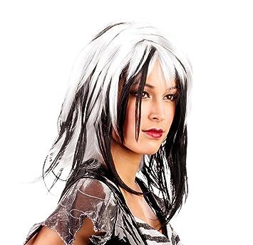 Ciao Peluca rock Party lisa, Mujer, blanca y negra