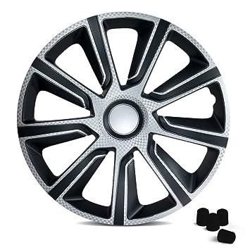 Universal Tapacubos verón Carbon apto para casi todos los vehículos Incluye 4 tapas de válvula.: Amazon.es: Coche y moto