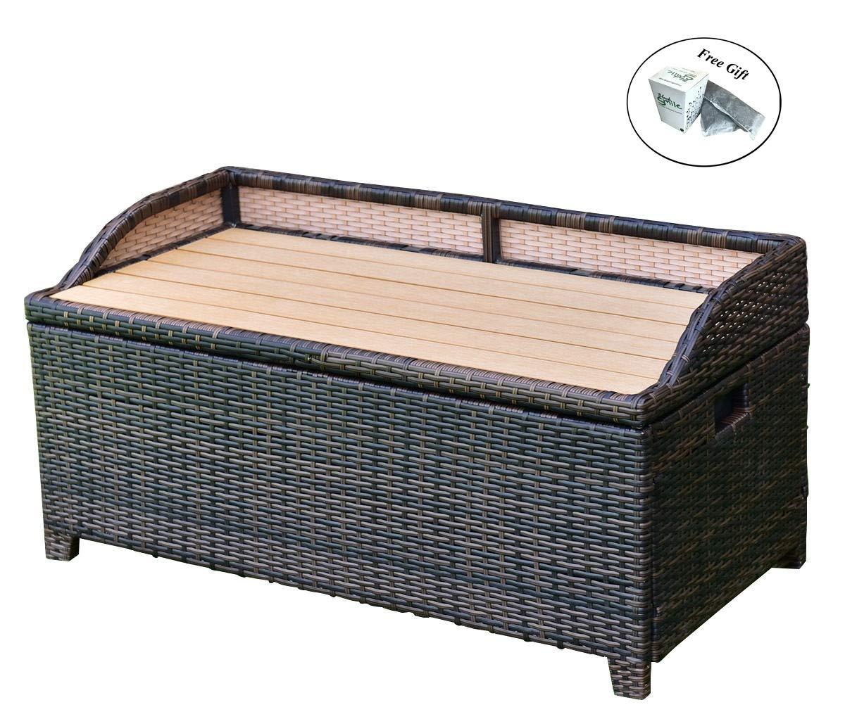 Eight24hours 50 Gallon Patio Rattan Storage Bench Container Box Wicker Chest Organizer Seat + FREE E-Book