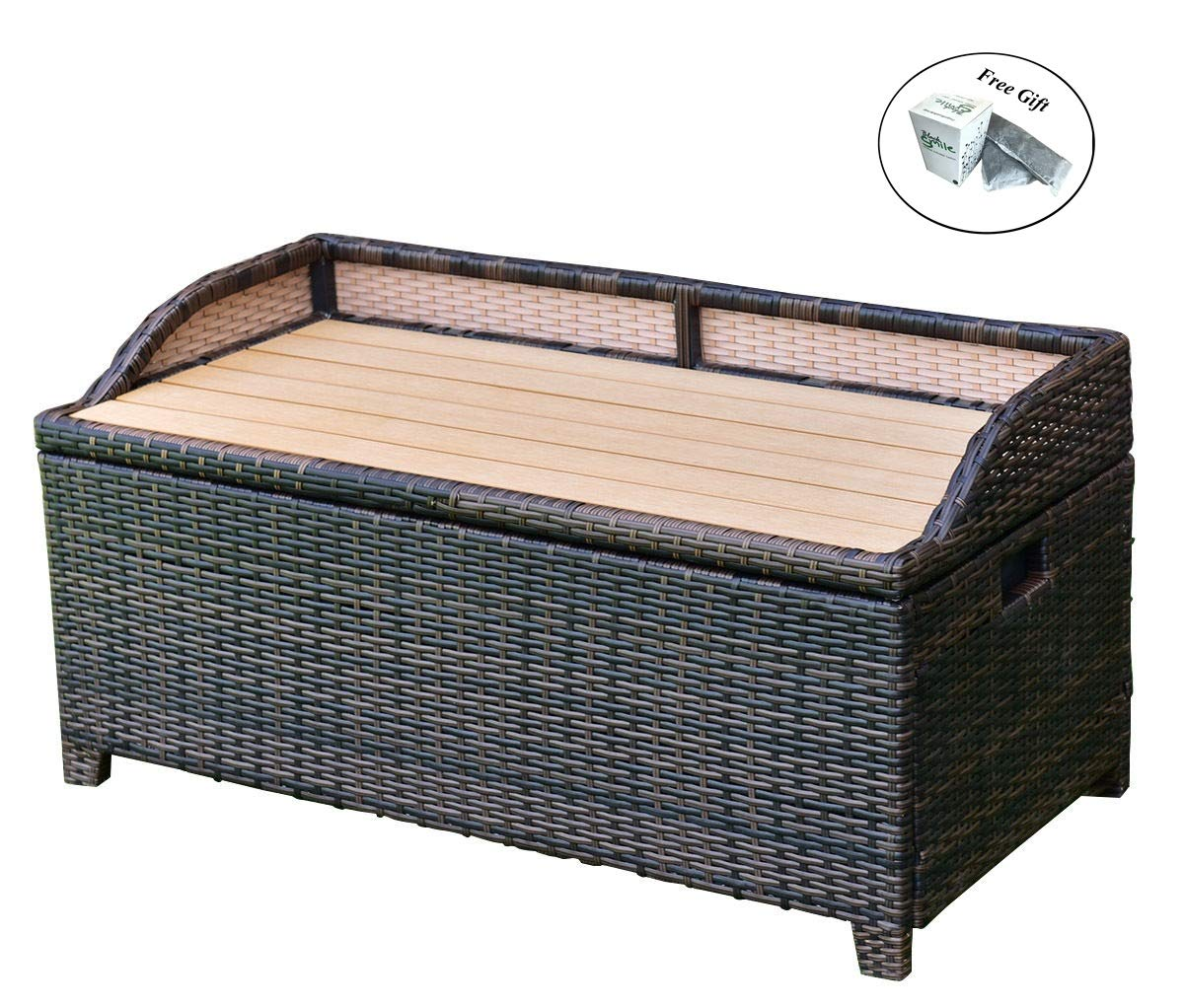 Eight24hours 50 Gallon Patio Rattan Storage Bench Container Box Wicker Chest Organizer Seat + FREE E-Book