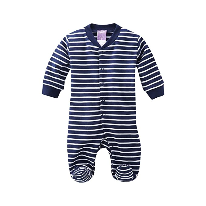 Pijama entero bebé algodón orgánico (80, Navy/white striped)