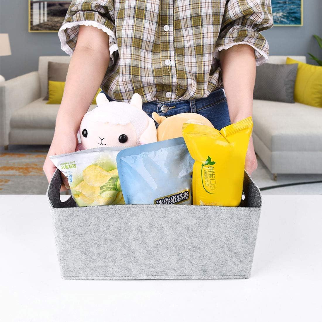 Nati Fieltro Cesta de Almacenamiento Plegable Caja de Almacenaje para Libro Revista Juguete Contenedor Sin Tapa Organizador con Asas para Beb/é Habitaci/ón 30x24x14.5cm 11.8x9.4x5.7inches