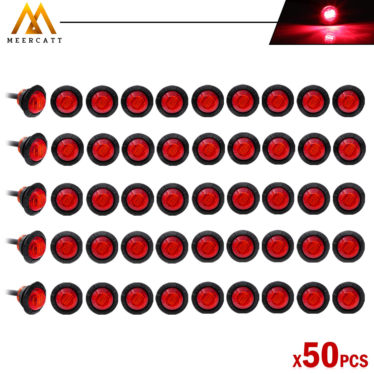 Meerkatt Pack of 50 3//4 Inch Mini Small Round Red LED Flush Mount Side Marker Clearance Lamp Indicator SMD Light Universal Truck Marine Camper Bus Trailer Flatbed RV grommets 12V DC Waterproof
