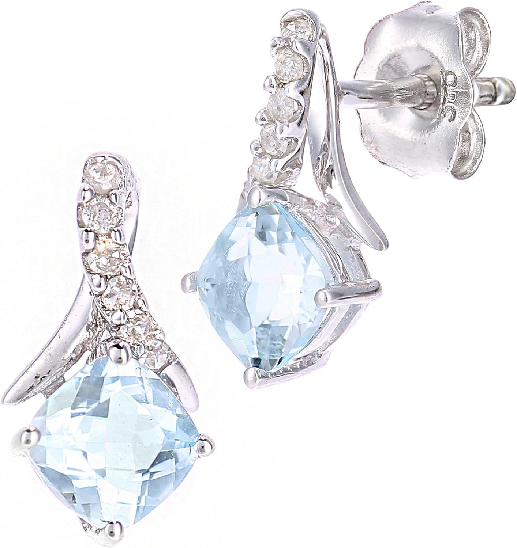 Naava mujer 9 k (375) oro blanco redondo azul topacio diamante