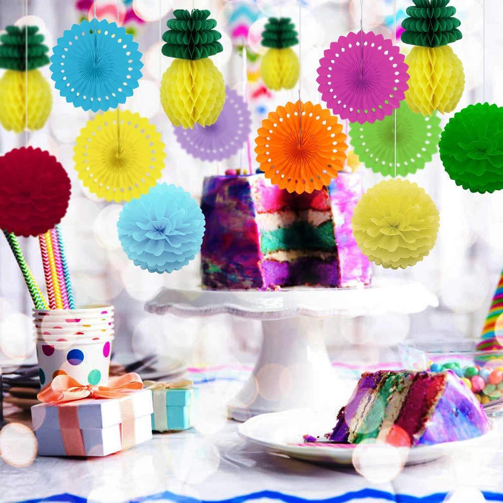 Fournitures de loisirs créatifs Hysagtek Lot de 15 décorations de fête dété en forme de nid dabeille Motif boule dananas et feuilles tropicales pour fête danniversaire et mariage Loisirs créatifs