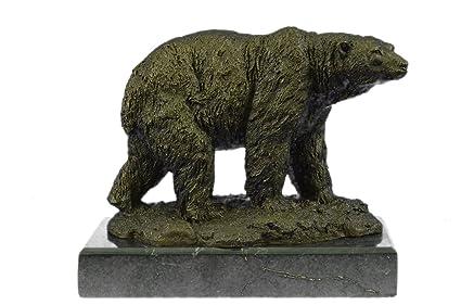 Hecho a mano raro bronce escultura bronce estatua Original por Milo Oso Polar Art Deco clásico