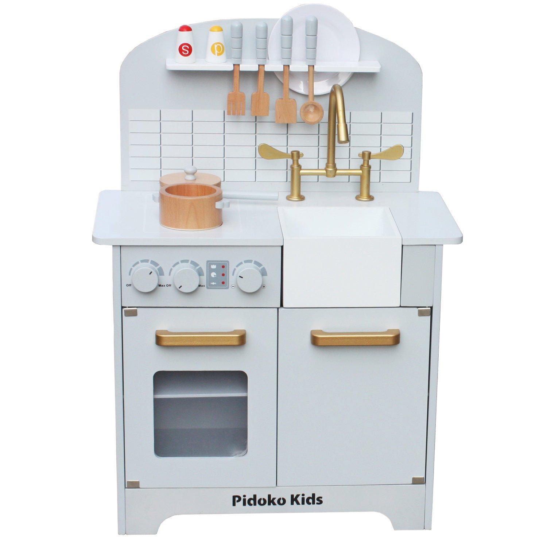 Amazon.com: Pidoko Kids Toy Kitchen, Grey - Wooden Play Kitchen Set ...