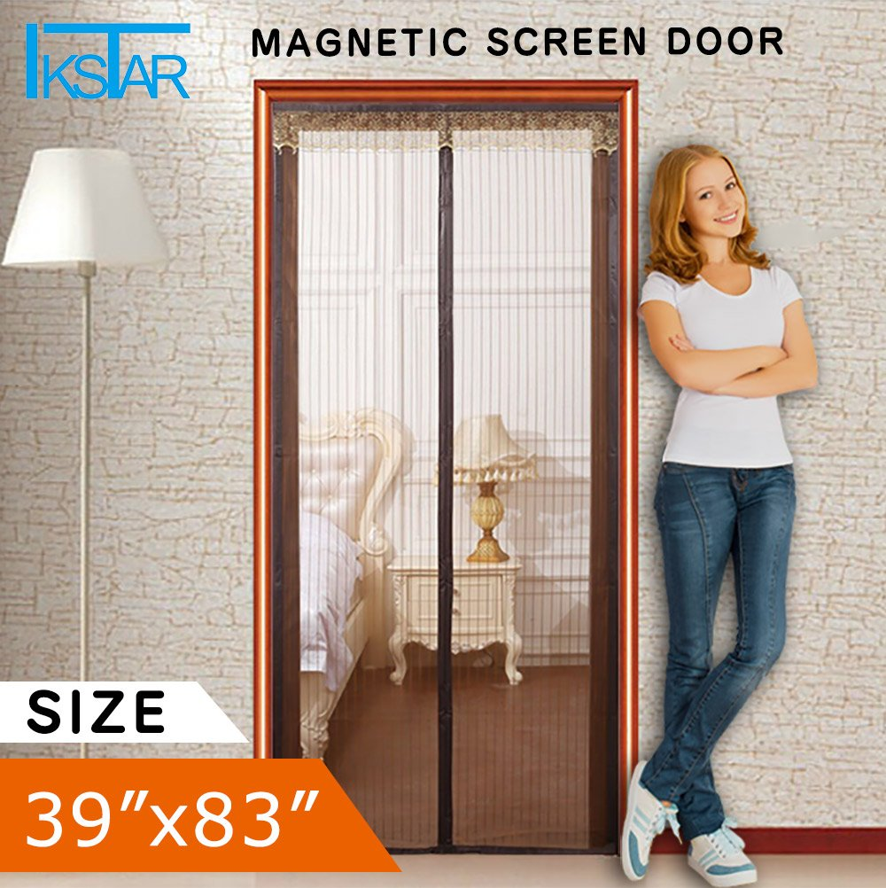 Magnetic Screen Door for Patio Door,Full Frame Velcro,Instant Bug Mesh Fits Door Up To 36''x82'',Automatically Tight Closure Hands Free Coffee by IKSTAR by IKSTAR