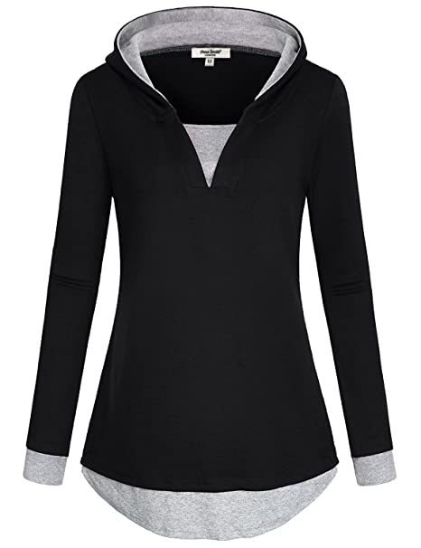 Sudaderas con capucha para mujer,Anna Smith Rounded Hem Diseñador Cotton Tunic Color Block Camiseta
