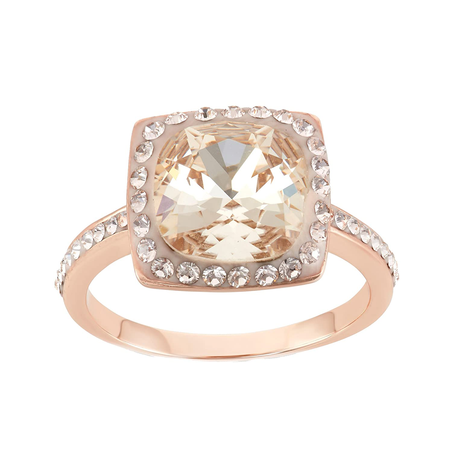 618d5d067 14K Rose Gold Plated Sterling Silver Cushion Cut Light Silk Swarovski  Crystal Ring Size 7: Amazon.co.uk: Jewellery