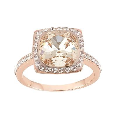 230ea946b 14K Rose Gold Plated Sterling Silver Cushion Cut Light Silk Swarovski  Crystal Ring Size 7: Amazon.co.uk: Jewellery