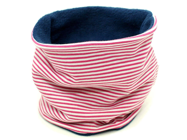 Kleine K/önige Loop Schal Kinder M/ädchen bis 8 Jahre /· Modell Streifen Pink /· Innen Fleece Marineblau /· Made in Germany