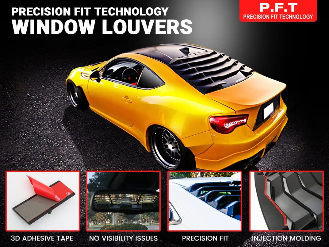 IKON Style Rear Window Louvers Cover Sun Shade ABS by IKON MOTORSPORTS Windshield Louver Fits 2009-2019 Nissan 370Z /2010 2011 2012 2013 2014 2015 2016