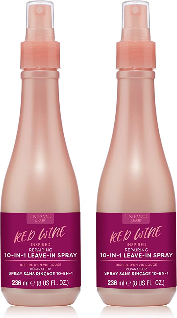 Unwined By HASK Beauty REPAIRING RED WINE 10-in-1 Leave-In Spray to nourish and strengthen damaged hair