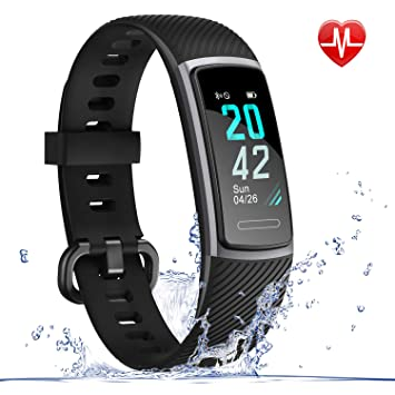 LETSCOM Fitness Tracker HR, IP68 Water Resistant Color Screen Activity Tracker Smart Watch with Heart Rate Monitor Step Counting Sleep Tracking ...