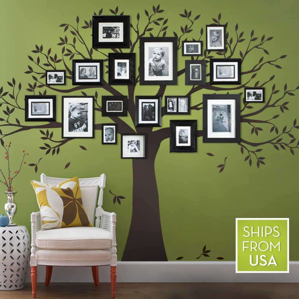 Family Tree Wall Decal By Simple Shapes (Chestnut Brown, Standard Size: 107  X 90 Inch)   Wall Decor Stickers   Amazon.com