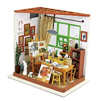 Robotime Diy Wooden Miniature Dollhouse Furniture Accessories Studio With Led Light Creative Toys For Boys And Girls