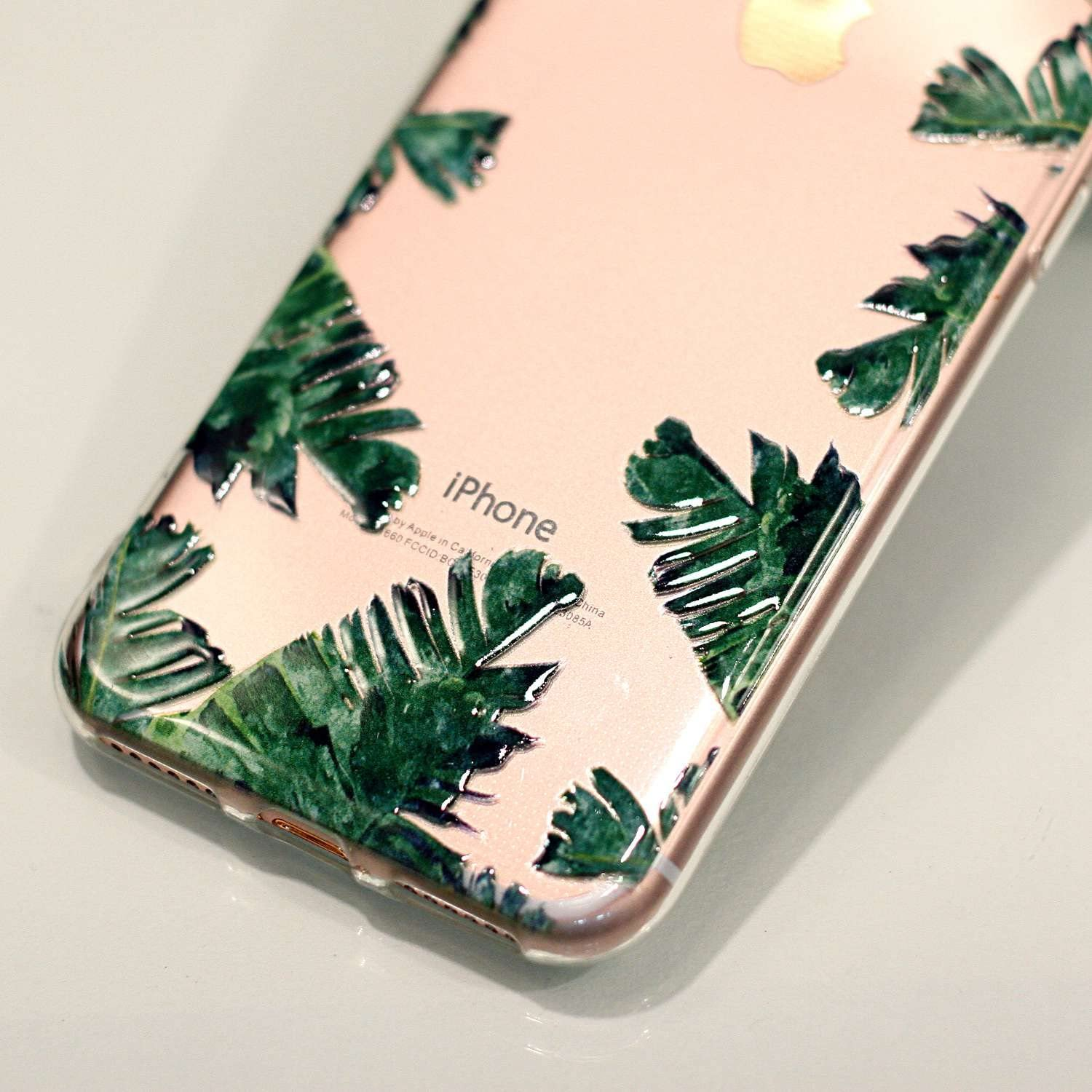 Peach blossom Shock Absorption Scratch Resistant TPU Skin Silicone Full-body Protective for Apple iPhone 7 Slim Thin Fashional Soft Transparent iPhone 7 Case