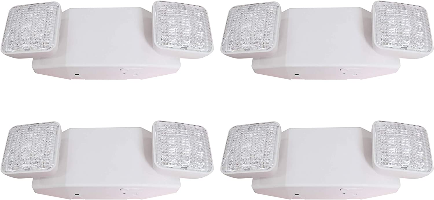 4-Pack UL 924 and CEC Qualified 120-277 Voltage LIT-PaTH LED Emergency Exit Lighting Fixtures with 2 LED Heads and Back Up Batteries- US Standard Emergency Light