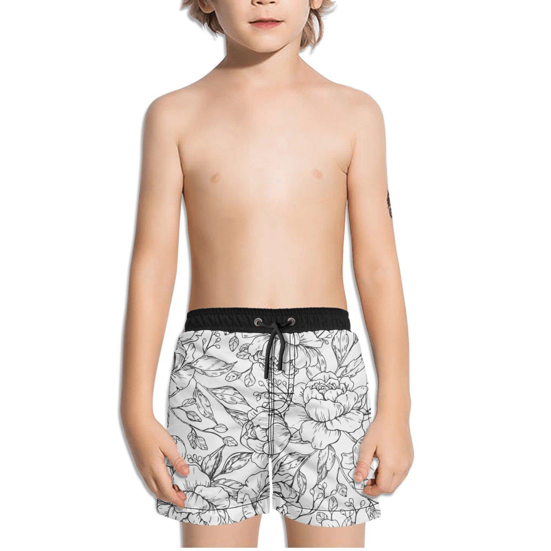 Ouxioaz Boys Swim Trunk Hand Drawing Flower Rose Beach Board Shorts