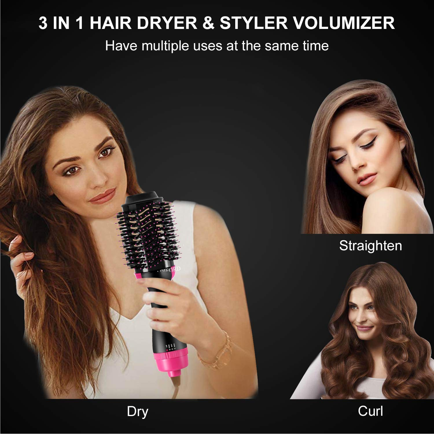 Hair Dryer Brush, AOIEORD Dry & Straighten & Curl in One Step Hair Dryer and Volumizer, Smooth Frizz with Ionic Technology by AOIEORD (Image #3)